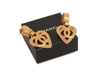 Authentic CHANEL Vintage Gold Metal Logo HEART Dangle Clip On EARRINGS