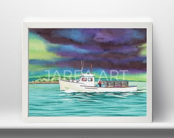 Lobster Boat with Fisherman St. Andrews New Brunswick Print