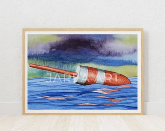 Lobster Float Buoy Floating in the Water St. Andrews New Brunswick Print