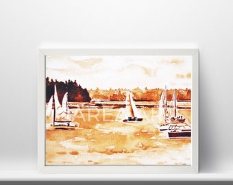 Sailboats in Harbour Coffee Painting Print