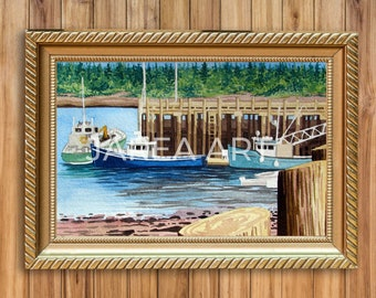 Low Tide Fishing Boats at the Wharf St. Andrews New Brunswick Print