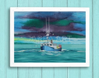 Lobster Boat with Seagulls St. Andrews New Brunswick Print
