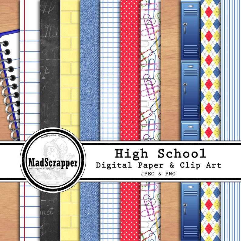 41e6218693a26 Digital Scrapbook Paper High School Middle School 12 Patterns 7 Solids 25  Clip Art 12 x 12 Instant Download