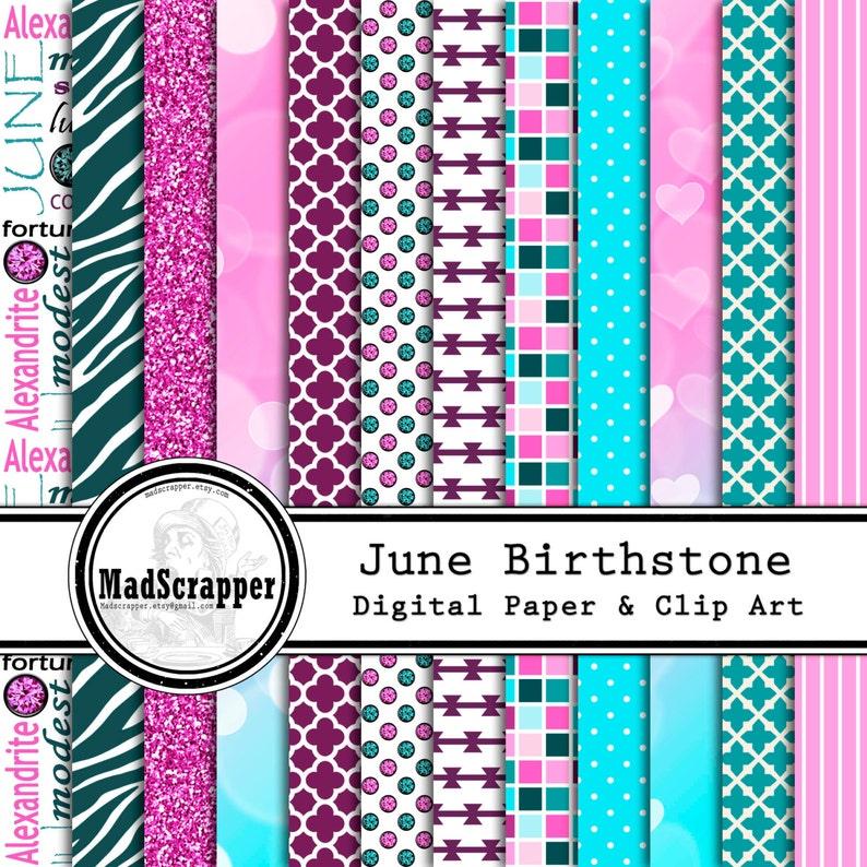 eecad1a5852f0 Digital Scrapbook Paper Birthstone Colors-June 12 Patterns 4 Solids 12 x 12  BONUS Clipart Instant Download