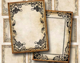 Digital Collage Sheet Bold Vintage Frames Two ATC ACEO Background Hang Tags Instant Download ATC103