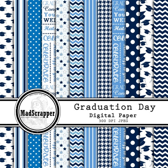 Digital Scrapbook Paper Graduation Day Blue And White 12 Etsy