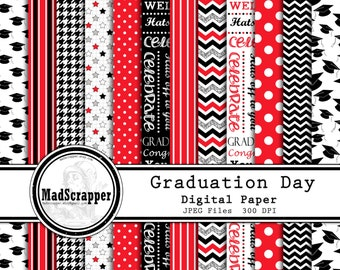 Digital Scrapbook Paper Graduation Day Black and Red 12 Patterns 4 Solids 12 x 12 BONUS Clipart Instant Download