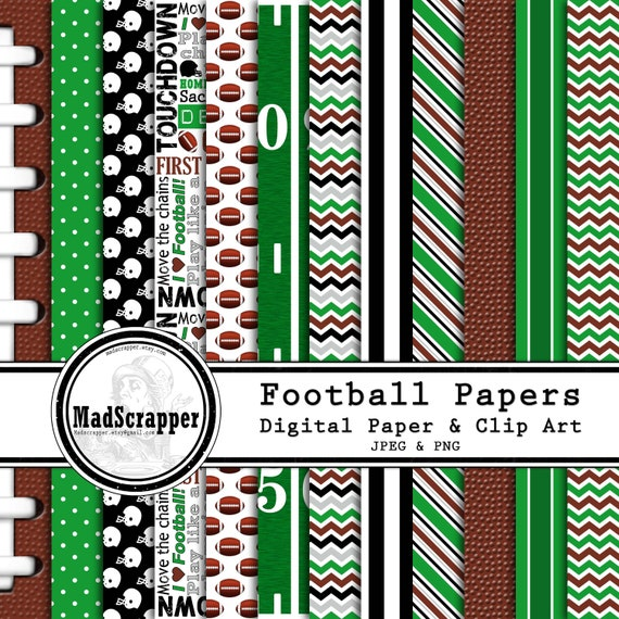 Digital Scrapbook Paper Football Paper 12 Patterns 5 Solids 12 Etsy
