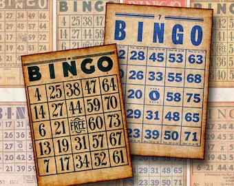 Digital Collage Sheet Vintage Bingo Cards ATC ACEO Background Hang Tags