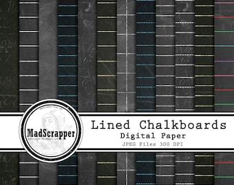 Digital Scrapbook Paper Lined Chalkboard Digital Paper 12 Patterns 5 Solids 12 x 12 Instant Download