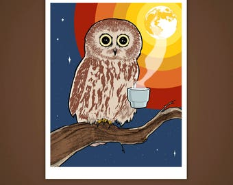 Coffee Owl 8x10 Giclee Illustration Print, Wall Art, Home Decor, Bird, Night, Caffeine, Drawing, Made in USA, Velvet Matte Finish