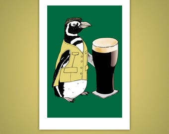 Beer Penguin 4x6 Giclee Illustration Print, I'll Have a Pint, Magellanic, St. Patricks Day, Animal Wall Art, Pub Decor, Velvet Matte Finish