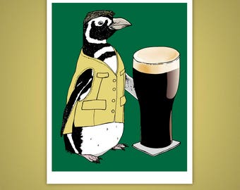 Beer Penguin, Bird 11x14 Giclee Illustration Print, St. Patrick's Day, Ireland, Pub, Happy Hour, Wall Art, Home Decor, Velvet Matte Finish