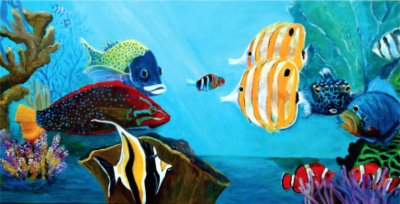 Acrylic Wall Art Coral Reef Ocean Fish Marine Art Coastal image 0