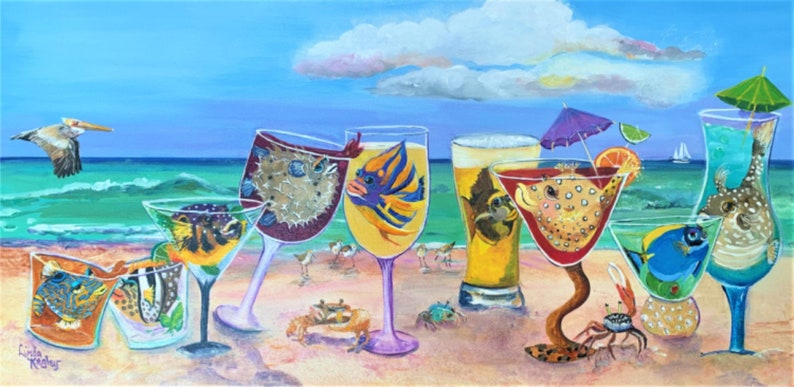 Beach Art Beach Party Fish Art Fish in Cocktails Fiddler image 0