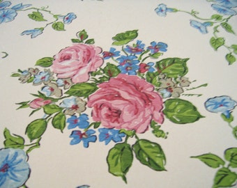 4 YARDS Antique Vintage Floral PINK ROSES Wallpaper for Mixed Media Scrapbooking and More