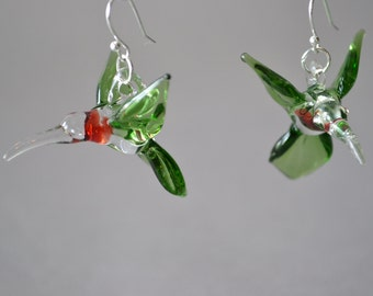 Hummingbird jewelry, glass humming bird Earrings, a miniature sculpture, of a green ruby red throat,perfect animal, for flower jewelry