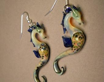 Blue Seahorse Earring Seahorse Jewelry Ocean Gift Sea Glass Beach Art Sea Horse Earrings