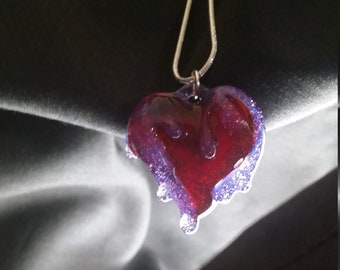 Anatomical Heart Necklace Pendant Small Heart Necklace Red Heart Necklace Gift Love Heart Jewelry Slime