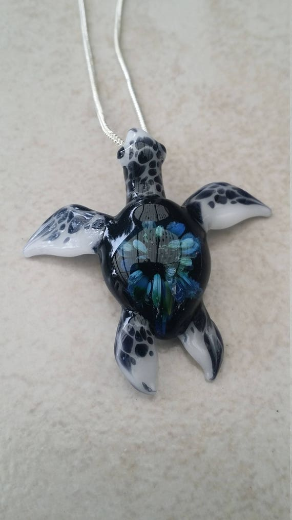Sea Life Jewelry Sea Turtle Gifts Sea Turtle Necklace Handmade Jewelry Turtle Pendant Glass Turtle