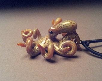 Hand blown Steampunk Octopus pendant necklace with silk choker