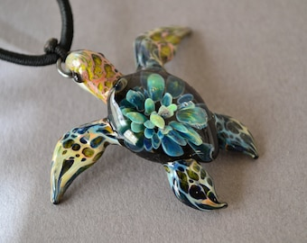 Blown Glass Pendant Necklace Sea Turtle Necklace Sea Turtle Pendant Gift for Mom Girlfriend Gift for Her Blue and Turquoise Jewelry