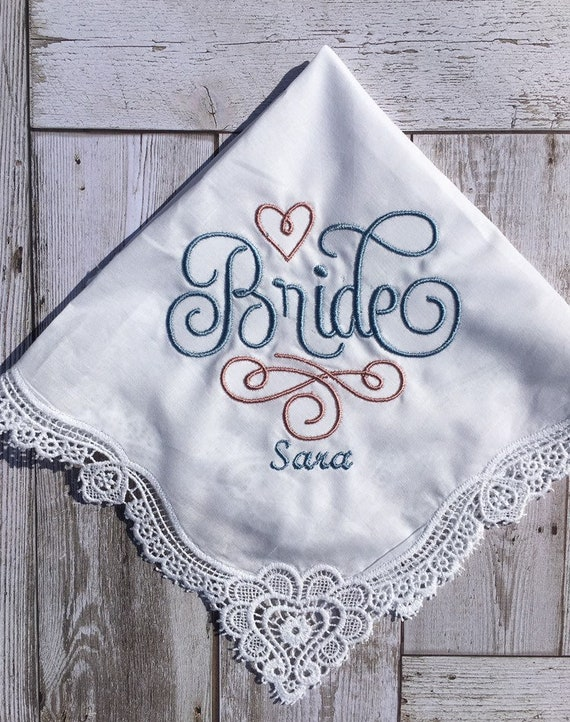 BRIDE Personalized Handkerchief Lace edge custom embroidered hankie Mother  Father of the Bride Groom