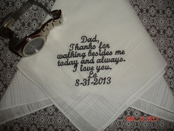 MOTHER OF THE GROOM WEDDING GIFT PERSONALISED HANDKERCHIEF HANKIE EMBROIDERED