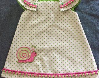 Summer Snail Fun!!  Girls Easy Wear Summer Dress - Sample Sale Pricing