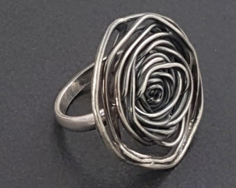 Rose Ring, sterling silver, large silver ring, size 8 ring, spiral, rose, roses, flower, silver ring, sterling, boho ring, michele grady
