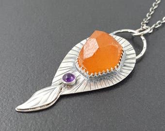 Spessartite Garnet Necklace, sterling silver, amethyst, orange garnet necklace, orange purple silver, michele grady, michele grady jewelry