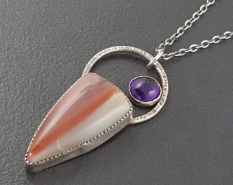 Amethyst and Jasper Necklace, purple and red, sterling silver, boho necklace, bohemian necklace, jasper, amethyst necklace, michele grady