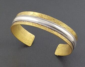 Mixed Metal Cuff, Textured Cuff, Cuff Bracelet, Adjustable, mixed metal cuff bracelet, mixed metal bracelet, bronze, sterling silver, cuff