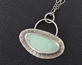 Green Druzy Charm Necklace sterling silver michele grady mint green stone sparkly jewelry sparkle holiday summer