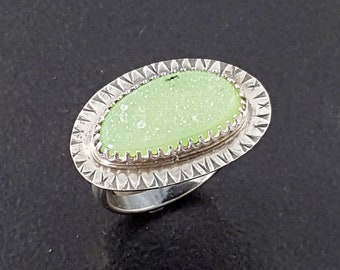 Green Druzy Ring size 8 sterling silver michele grady sea foam green stone statement jewelry cocktail sparkle sparkly holiday