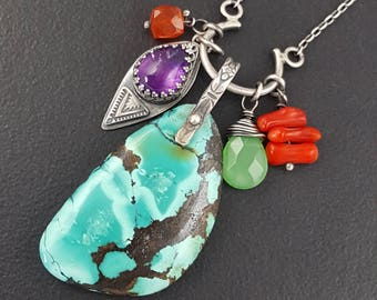 Turquoise Charm Necklace, amethyst, carnelian, chrysophrase, coral, sterling silver, michele grady, charm necklace, turquoise jewelry, boho