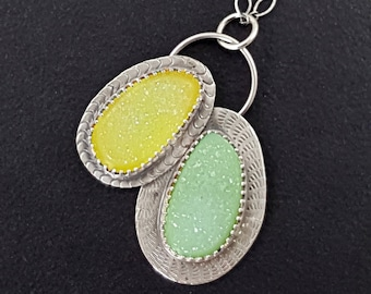 Yellow and Green Druzy Necklace sterling silver michele grady jewelry natural surface stone sparkle