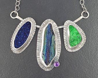Druzy Necklace, sterling silver, rainbow druzy, stamped necklace, boho necklace, michele grady, uvarovite garnet, titanium druzy jewelry