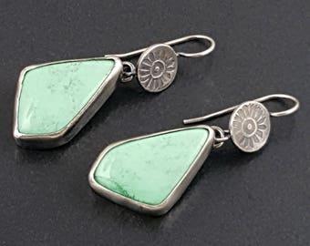 Variscite Earrings, sterling silver, green variscite, dangle earrings, stamped, boho, michele grady jewelry, green stone earrings, green