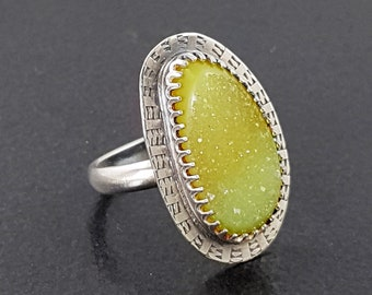 Yellow Druzy Ring Size 7 sterling silver michele grady buttery lemon yellow stone natural surface sparkle sparkly statement summer jewelry