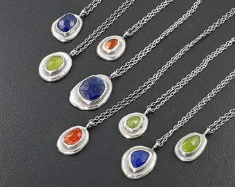 Pebble Necklace lapis sunstone vesuvianite sterling silver michele grady layering small pendant charm jewelry blue green orange stone