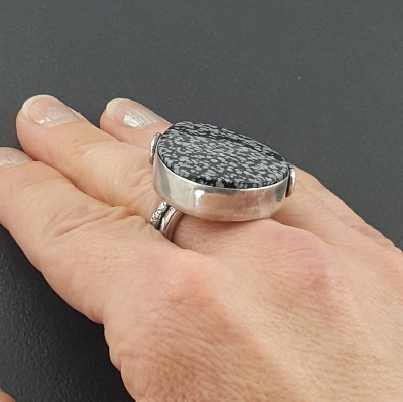 statement ring michele grady sterling silver ring floral size 7.5 black silver black white boho stamped Snowflake Obsidian Ring