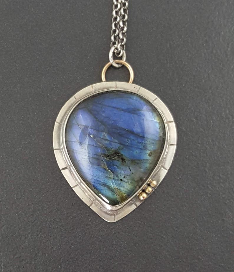 Great BLUE Flash LABRADORITE in Oxidized Patterned SILVER  Articulated Dangle  Open Back  Nice Bold Look  Made in Monterey California*!*