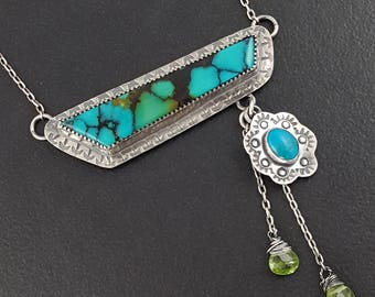 Asymmetrical Turquoise Necklace sterling silver peridot michele grady turquoise statement jewelry pendant