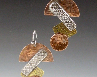 SALE Mixed Metal Earrings, abstract shapes earrings, mixed metal, dangle earrings, copper, brass, sterling silver, multi metal, mixed metals