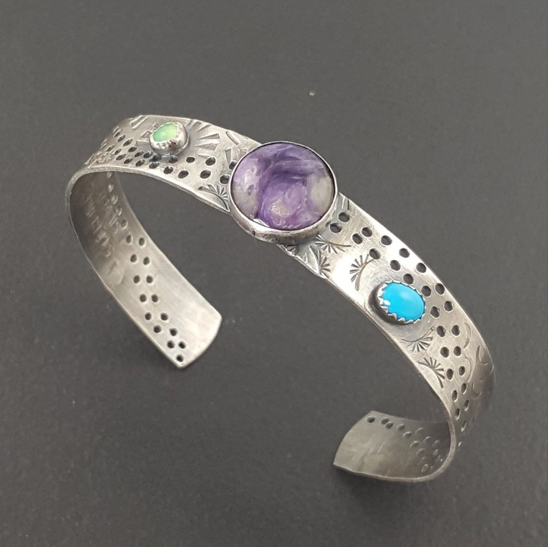 Charoite Turquoise Chrysoprase Cuff cuff bracelet stamped michele grady adjustable stacker,purple stone stacking cuff sterling silver