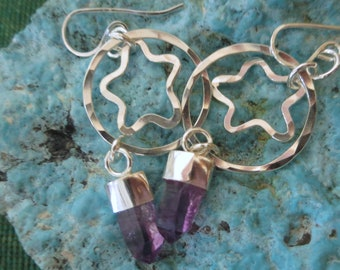 Circle and Star and Mexican Amethyst Crystals--Long Drop Earrings