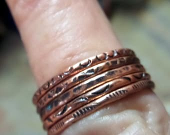 Five Skinny Copper Stackers