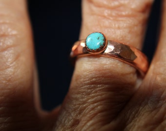 Copper and Turquoise Ring-size 6.5