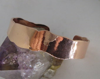Heavy and Wide Hammered Copper Bracelet